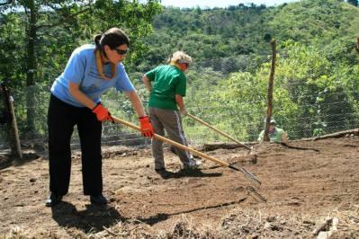 me raking garden